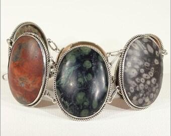 Victorian Fossil Silver Bracelet, 1890s Antique
