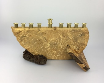 Hanukkah Wood Menorah - Spalted Maple and Cherry - Hand-crafted from Reclaimed Wood by Jonathan Winfisky