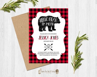 Rustic Bear Baby Shower Invitation Red and Black Plaid Printable Invitation or Prints with Free Shipping Boy Baby Shower Invites