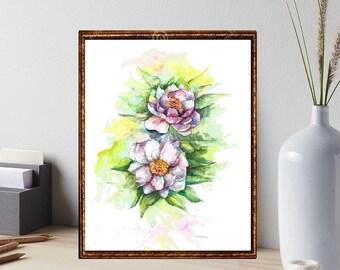 Flowers Printable Home Decor flowers Print Flowers digital download cherry blossom printable wall art flowers watercolour print floral print