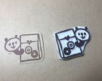 Panda rubber stamp / handmade rubber stamp/Sticker making /Hand carved rubber Stamp/ snail mail