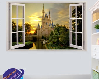 Sunset Princess Disney Castle Wall Sickers Mural Decal 3d Effect Home Shop Office Nursery Decor ZN6