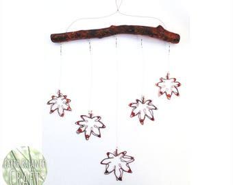Japanese Maple Leaf, Hanging Mobile, Momiji Decor, Momijigari Decoration, Leafy Wall Art, Beaded Window Decoration, Red Crystals, Real Wood