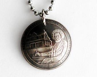 Frederick Douglass, Domed Coin Necklace U.S. Commemorative Quarter National Historic Site, Washington D.C., Pendant Jewelry Hendywood CPQE16