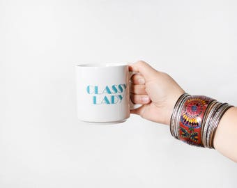 classy lady mug, vintage 80s coffee mug, white 1980s Russ Berrie & Co ceramic mug