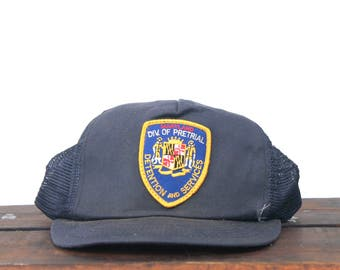 Vintage Trucker Hat Snapback Hat Baseball Cap Distressed Maryland Pretrial Detention Services Police Jail Prison Guard Bail