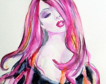 SALE- Original fashion painting,fashion watercolor,pink and black watercolor,pink watercolor,pink fashion watercolor,woman watercolor,pink