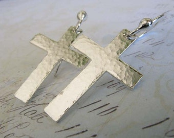 Cross sterling silver earrings.  Small textured religious gift. Shiny everyday jewelry for her. Simple Christian artisan handmade keepsake.