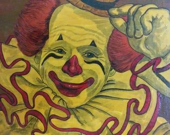 Old Vintage Circus Clown Portrait Oil Painting Artist Signed on Wood Panel Art