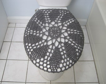 toilet seat lid covers. Crochet Toilet Seat Cover Or Tank Lid Cover  True Grey TSC28C TTL28C Seat Etsy