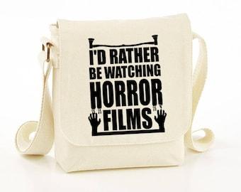 I'd rather be watching horror films messenger bag - Horror messenger bag - horror bag - bag - funny bag - funny shoulder bag - gift idea