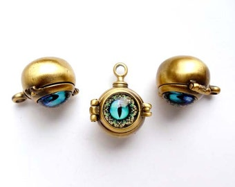 1 Antique Bronze Dragon's Eye Orb Locket/Charm With Hinged Lid - 22-9-1