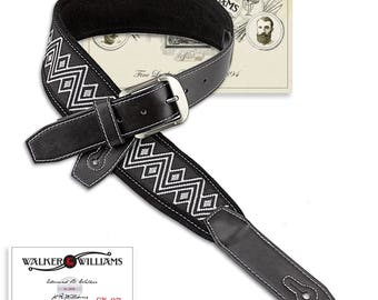 Black & White Southwestern Woven Guitar Strap with Padded Suede Leather Back SW-07