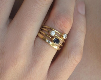 Sapphire Gold Ring, 18k Solid Gold, Oval Gold Bezel, Blue Sapphire Ring, Anniversary Gift, Stacking Rings