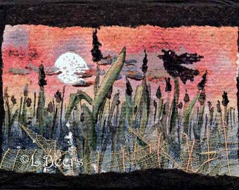 Moon over Cattails ...  art trading card