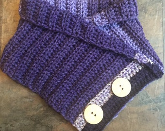 Handmade crochet chunky cowl neck scarf with or without buttons for toddlers, children and adults