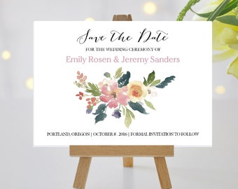 Save the Date Cards Blush Pink Floral Watercolor | Wedding Save the Date | Watercolor Save the Date Card | Save the Date Card | Printed Card