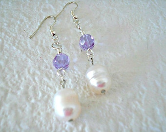 Lilac/Lavender Pearl Earrings, Long Dangle Earrings, Colored Pearl Earrings, CLEARANCE SALE