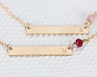 Gold Birthstone Bar Necklace Initial, Personalized Birthstone Initial Necklace, Horizontal, Gold Filled