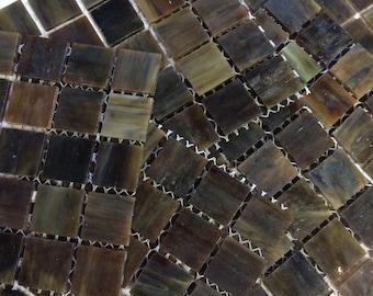 "MG650100 Dark Brown Marbled Stain Glass Mosaic Tiles 3/4"" Tile-25pc//Discount Mosaic Supplies//Mosaic//Brown Tile"