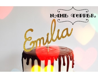 Name cake topper gold glitter any name cake topper - 1st birthday, custom name,cake topper, birthday cupcake topper,valentines cake wedding