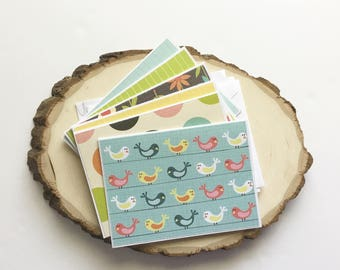 Birds and Flowers Card Set - Thank You Card Set - Greeting Card Set - Hello Cards - Encouragement Cards - Blank Card Set of 6