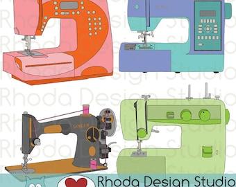 Sewing Machine Vintage and Modern Digital Clip Art Retro Clipart