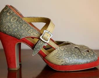 Faryl Robin 90s does 40s / 70s Platform Peep Toe Heels Pumps Sandals Red Cream Yellow Faux Snakeskin and Suede sz 8