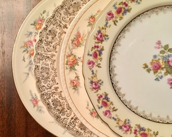 Vintage Mismatched China Dinner Plates Set of 4 Cottage Chic, Wedding plates, Bridal Luncheon, Perfect Holiday Table, Shabby Chic China 1084