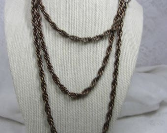 Vintage  Accessocraft N.Y.C. Long Bronze Finish Rope Chain Necklace