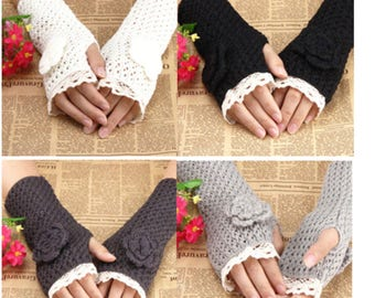 Fingerless gloves with flower in wool (4 colors)