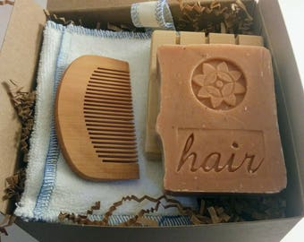 Zerowaste Hair Care set by AQUARIAN BATH with shampoo bar, comb, soap saver, soap deck