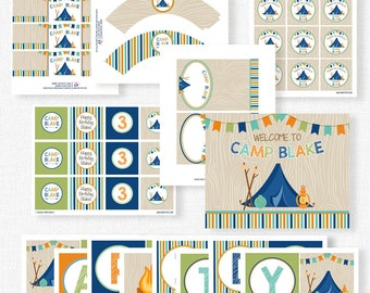 Camping Birthday Party Printables, Camping Party Decorations, Camping Party Collection, Boy Camping Party