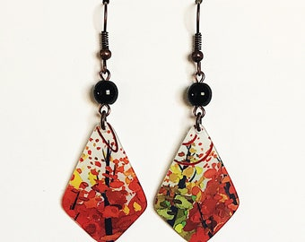 Upcycled Gift Card Earrings - Fall Leaves
