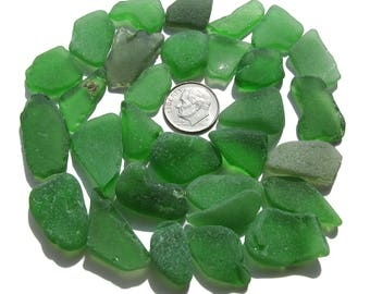 Sea Glass Bulk Lot in Shades of Emerald Green - 30 Pieces