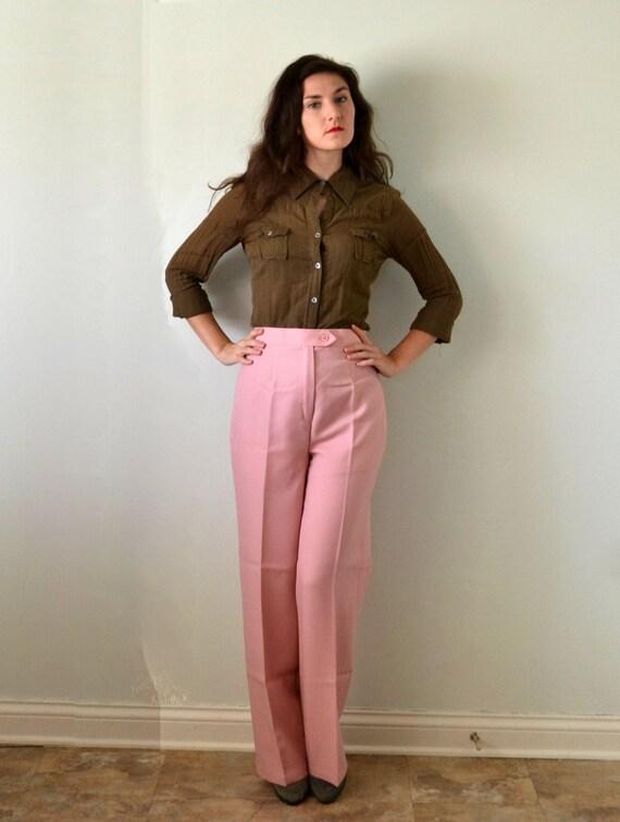 Walk the Walk Trousers | vintage 70's blush pink wide leg trouser pants NOS | XL