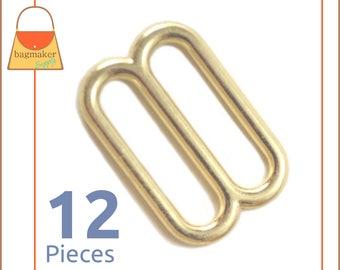 "1 Inch Cast Slides for Purse Straps, Brass Finish, 12 Pieces, Handbag Bag Making Supplies Hardware, 1"", BKS-AA020"