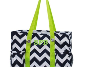 Chevron Navy Blue and White Organizing Tote with Lime Green Handles Bag Teacher Nurse RN Organizer Craft Scrapbook