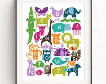 Baby cross stitch pattern Animal embroidery chart Alphabet Baby shower DIY gift Modern wild animal Printable pdf sampler Easy Funny gift