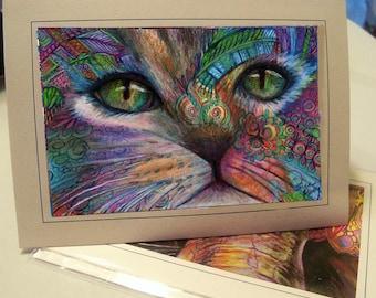 greeting card print of original art-kitty cat Zentangle