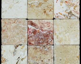 Leonardo Classic Tumbled Travertine Mosaic Tiles 4×4 (9 Pieces per order)