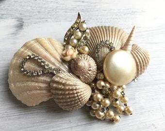 Beach Wedding No.16 - Seashell, Vintage Rhinestone, Pearl and Gold Assemblage Bridal Headpiece for a Beach / Coastal Wedding