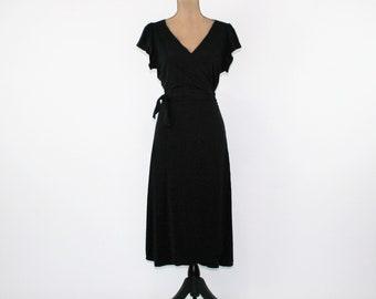 Black Wrap Dress Women Short Sleeve Midi Dress Black Knit Dress Medium Large Max Studio Vintage Clothing Womens Clothing