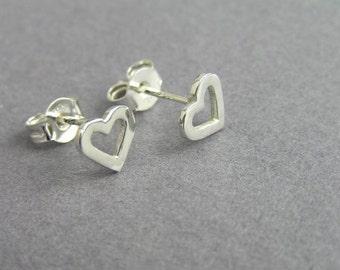 Silver Heart Earrings - Heart Studs - Sterling Silver Post Earrings