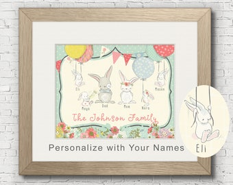 Personalized Spring/Easter Family Portrait