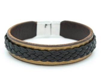 Bronze leather cuff, Metallic leather bracelet, Braided cuff - the Twain Cuff