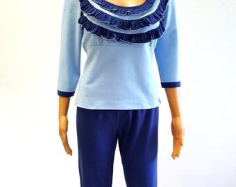 Blue Sky Ruffle Long Sleeves Pants Women Pajama Set