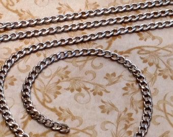 Stainless Steel 2.5 x 4.5 mm small flat curb chain-high quality-marine grade-steampunk-wallet jewelry watch chain burning man Di Vinci-KR126