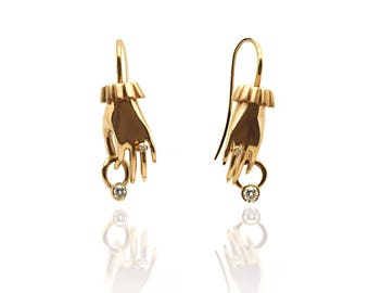 The Frida Earrings - Gold Hand Earrings