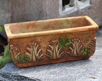 Mossy Aged Flower Box Planter for Miniature Garden, Fairy Garden